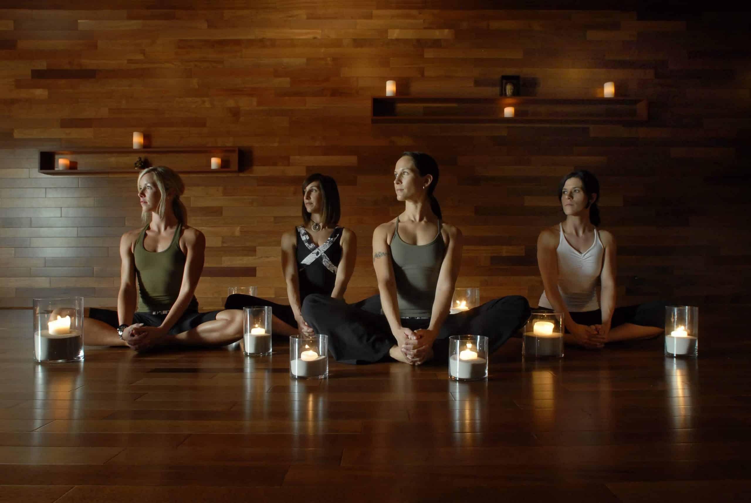 Women doing yoga at the White Oaks.