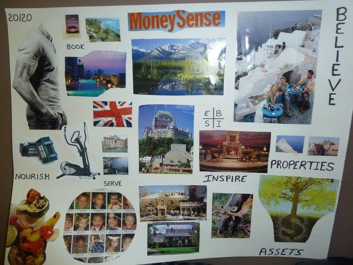 Vision board with images to represent words such as 'inspire', 'nourish', and 'believe'.