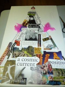 A vision board in the shape of pyramid.