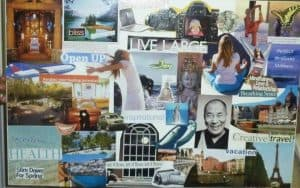 Vision board with images of women with their arms out and free, as well as yoga poses.